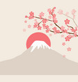 cherry blossom and mount fuji vector image