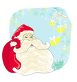 Christmas cards with Santa Claus and birds vector image vector image