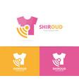 cloth and wifi logo combination shirt vector image vector image