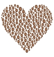 coffee beans in the shape of heart vector image vector image