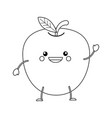 Colorless funny cartoon apple