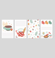 culinary cards kitchen recipe notebook pages vector image