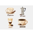 Cup of cappuccino coffee on saucer and coffee pot vector image vector image