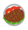 delicious meat on dish vector image vector image