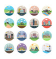 different buildings flat icons vector image