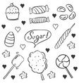 doodle candy various style hand draw vector image vector image