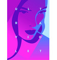 fashion portrait of a model girl and neon light vector image vector image