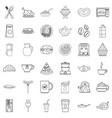 feast icons set outline style vector image vector image