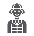 firefighter glyph icon fire and person fireman vector image vector image