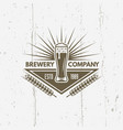 glass beer isolated vintage label vector image vector image