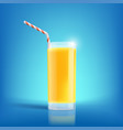 glass of freshly squeezed orange juice drink with vector image