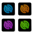 glowing neon gear and arrows as workflow concept vector image vector image