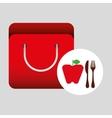 grocery bag apple nutrition fruit vector image vector image
