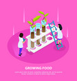 growing artificial food isometric composition vector image vector image