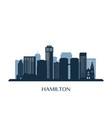 hamilton skyline monochrome silhouette vector image vector image