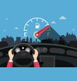 hands on steering wheel with car fuel level gauge vector image