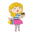 happy young girl cartoon character vector image vector image