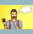 hipster man showing mobile phone cartoon vector image