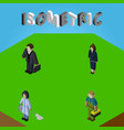 isometric person set of investor housemaid vector image vector image
