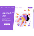 landing page unhealthy diet concept vector image