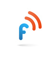 Letter F wireless logo icon design template vector image vector image