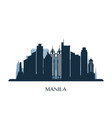 manila skyline monochrome silhouette vector image vector image