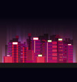 night city background flat retro style vector image vector image