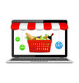 online store concept on laptop screen with striped vector image
