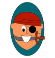 pirate with sword on white background vector image