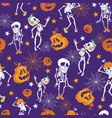 purple halloween skeletons and pumpkins pattern vector image vector image