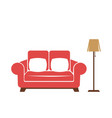 red sofa with standard lamp vector image