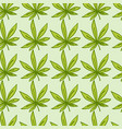 seamless doodle pattern with green cannabis leafs vector image vector image