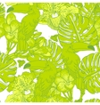 Seamless green pattern with flowers and Toucan vector image vector image