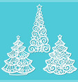 set christmas trees template for laser cutting vector image vector image