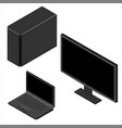 set computer monitor laptop and personal computer vector image