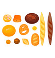 set of isolated pastry or bakery cereal food vector image