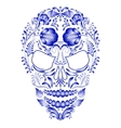 Skull decorated with blue pattern in Gzhel style vector image