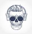 skull with hairstyle vector image vector image