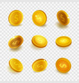 stock realistic set gold coins vector image