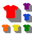 t-shirt sign set of red orange yellow green vector image vector image
