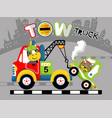 tow truck cartoon with funny animals vector image