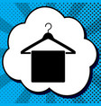 towel on hanger sign black icon in bubble vector image vector image