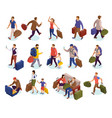 travel people isometric icons set vector image vector image