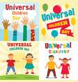 universal children day banner set flat style vector image