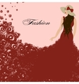 woman in a red dress Red roses Beautiful vector image