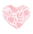 Doodle bird and floral elements in heart shape vector image