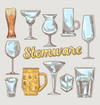 stemware hand drawn glasses vector image