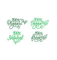 100 per cent green labels set organic vegan vector image
