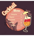 Alcohol cocktails drink menu card template vector image