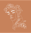 art line flower head minimalist woman print vector image